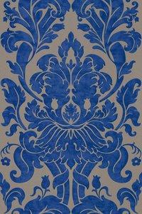 Vlies Barock blauw goud Rasch En Suite 546415zachte glans vinyl