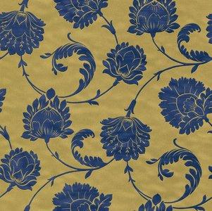 Vlies Barock blauw goud Rasch En Suite 546323zachte glans vinyl