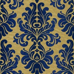 Vlies Barock blauw goud Rasch En Suite 546125 zachte glans vinyl
