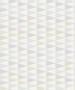 Rasch behang 437812 Wit met pastel tinten geometrisch patroon